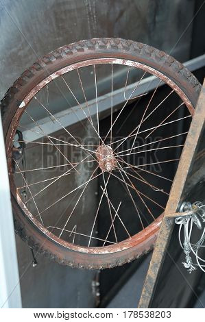 Rusted Bicycle Wheel