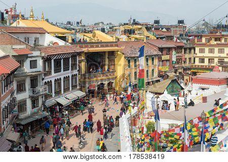 Kathmandu Nepal - 18 March 2015: People are walking around Boudhanath temple in Kathmandu