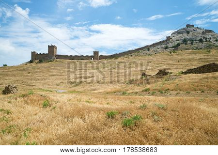 Panorama of the Consular castle in the medieval Genoese fortress on a Sunny June day. Sudak, Crimea