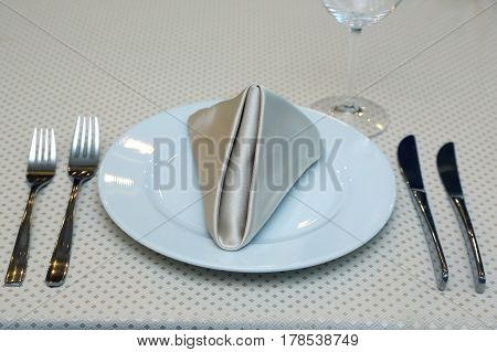 the a food table setting in restaurant