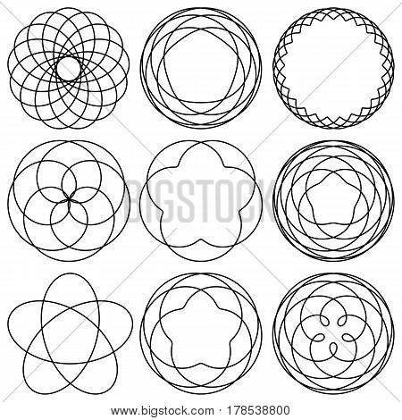 Set spirographic elements for design of labels stickers badges or logo. Vector illustration