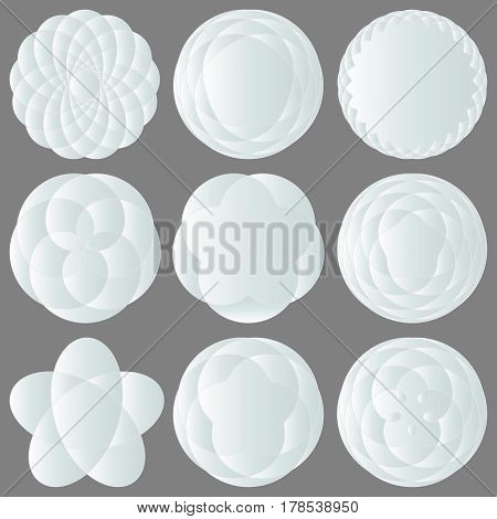 Set of Abstract white icons for design logos. Vector illustration