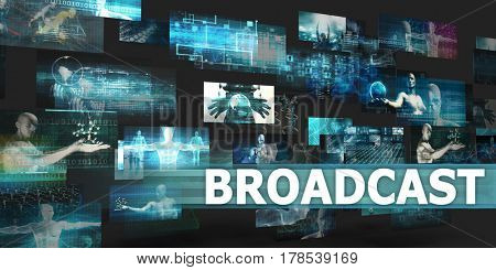 Broadcast Presentation Background with Technology Abstract Art 3D Illustration Render