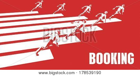 Booking with Business People Running in a Path 3D Illustration Render