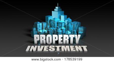Property Investment Concept in Blue on Black Background 3D Illustration Render