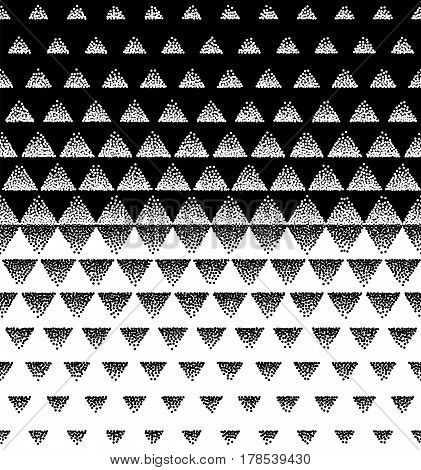 Halftone Triangular Pattern Vector. Black and White Triangle Halftone Grid Gradient Pattern Geometric Abstract Background.