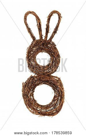 Easter Bunny Spring Wreath Decor Isolated on White. Selective focus.