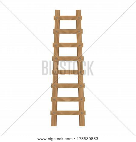 Wooden ladder isolated on white background. Front view. Vector illustration.