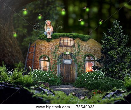 Fabulous house in a magical forest . A happy little girl fairy. A fairy tale for children. The house in the pumpkin
