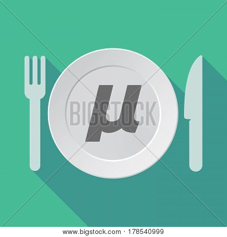 Long Shadow Tableware With  A Micro Sign, Mu Greek Letter