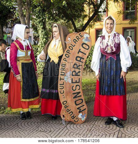 SELARGIUS, ITALY - September 8, 2013: Old wedding Selargino - parade of popular culture group of Monserrato - Sardinia