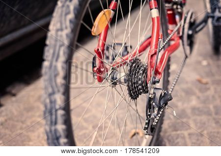 Bicycle. Selective focus on chain and transmission. Rear gear and bike chain.