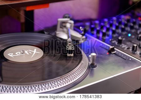 Turntable Vinyl Record Player, Analog Sound Technology For Dj Playing Analog And Digital Music. Clos