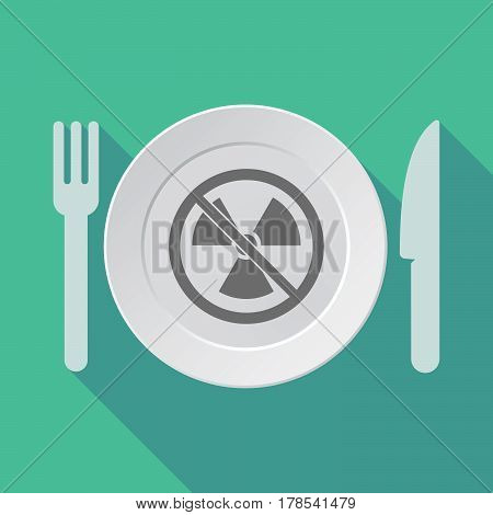 Long Shadow Tableware With  A Radioactivity Sign  In A Not Allowed Signal