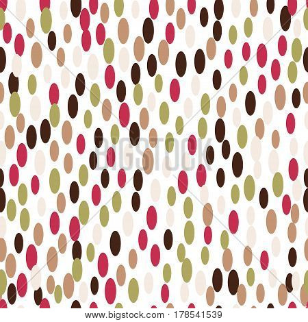 Abstract seamless soft pattern background with ovals and petals. Pink, gold, brown, red colors on white background. Confetti. Design soft wrapping, fabric, textile, gift paper.