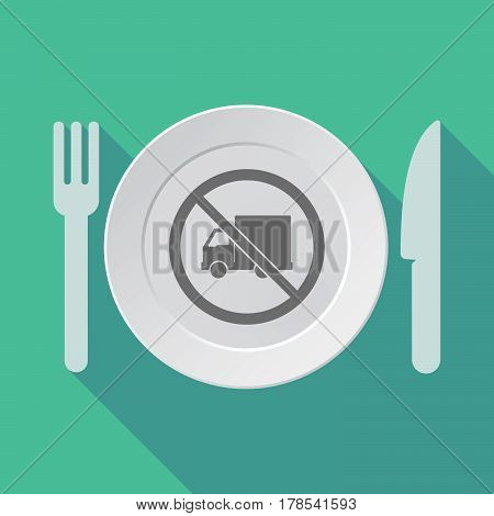 Long Shadow Tableware With  A Delivery Truck  In A Not Allowed Signal