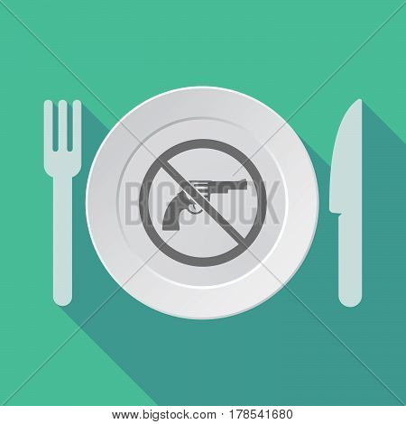 Long Shadow Tableware With  A Gun  In A Not Allowed Signal