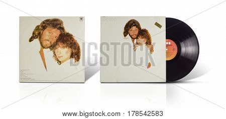 Rishon LeZion Israel-August 31 2016: Old vinyl stereo album Barbra Streisand Guilty. Manufactured by CBS Records Tel Aviv Israel in 1980. Covers and vinyl disc are shooted on white background