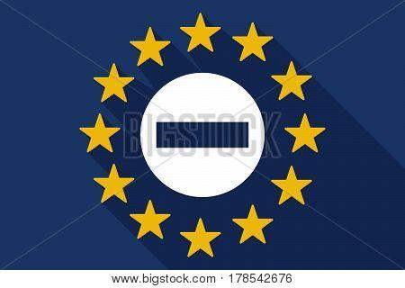 Long Shadow Eu Flag With  A No Trespassing Signal