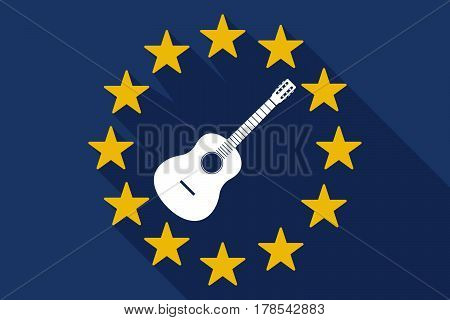 Long Shadow Eu Flag With  A Six String Acoustic Guitar