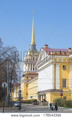 SAINT PETERSBURG, RUSSIA - MAY 04, 2015: The Admiralty. Sunny may day. Saint Petersburg
