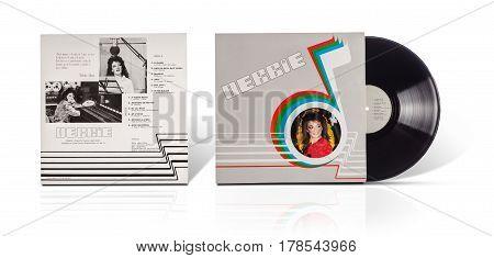 Rishon LeZion Israel-August 31 2016: Old vinyl stereo album Debbie. Arreglos y Direccion Musical Lazlo Rooth. Grabado en Carlos Zavala Grabaciones SA. Manufactured in Mexico. Covers and vinyl disc are shooted on white background