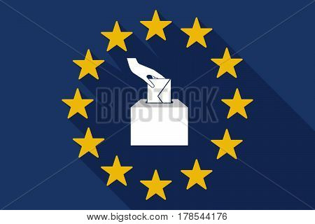 Long Shadow Eu Flag With  A Hand Inserting An Envelope In A Ballot Box