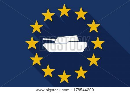 Long Shadow Eu Flag With  A Combat Tank