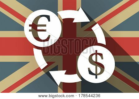 Long Shadow Uk Flag With  An Euro Dollar Exchange Sign