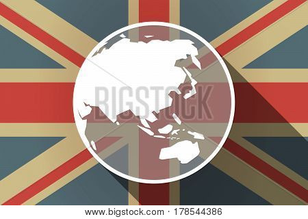 Long Shadow Uk Flag With  An Asia Pacific World Globe Map