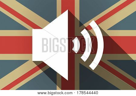 Long Shadow Uk Flag With  A Speaker Volume Sign