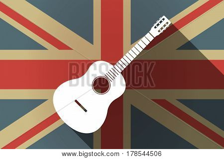 Long Shadow Uk Flag With  A Six String Acoustic Guitar