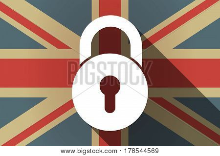 Long Shadow Uk Flag With  A Closed Lock Pad