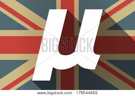 Long Shadow Uk Flag With  A Micro Sign, Mu Greek Letter