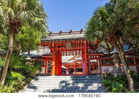 Aoshima, Japan - August 27: Aoshima Jinja , A Colorful Shinto Shrine Located On Aoshima Island, Miya