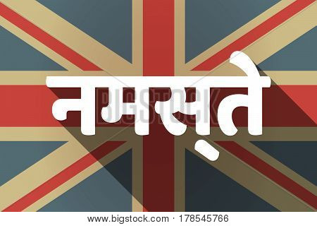 Long Shadow Uk Flag With  The Text Hello In The Hindi Language