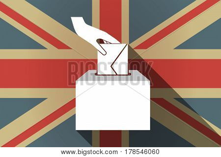 Long Shadow Uk Flag With  A Hand Inserting An Envelope In A Ballot Box