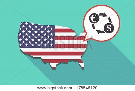 Long Shadow Usa Map With  An Euro Dollar Exchange Sign