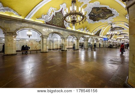 MOSCOW/ RUSSIA - MARCH 11, 2017. Metro station Komsomolskaya in the center of Moscow, Russia