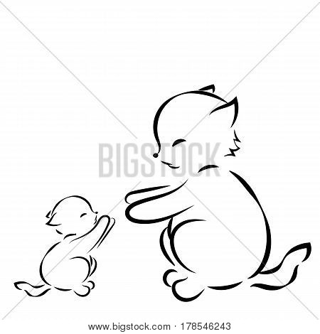 outline drawing cat and kitten on a white background