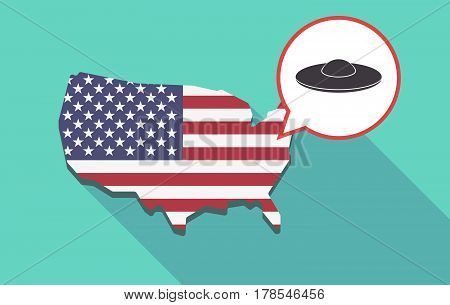 Long Shadow Usa Map With  A Flying Saucer Ufo