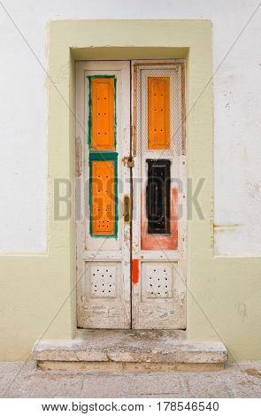 Wooden door of Monopoli. Puglia. Southern Italy.