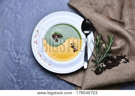 Spinach And Pumpkin Cream Soup With Rosemary And Pepper