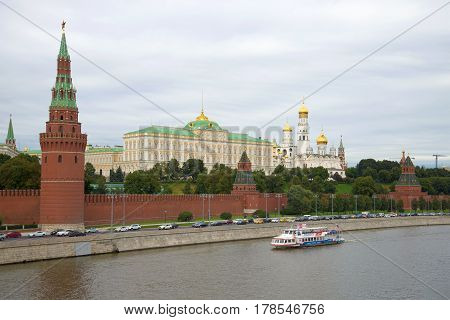 MOSCOW, RUSSIA - SEPTEMBER 07, 2016: Moscow Kremlin, cloudy September evening. The view from the Kremlin embankment