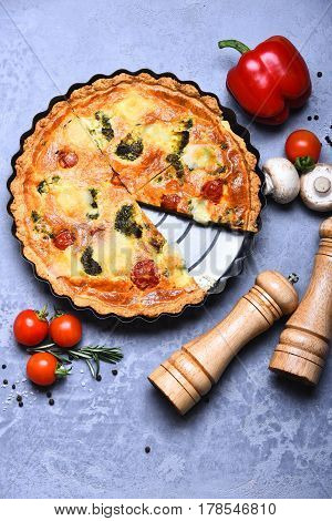 Pizza Or Vegetable Pie With Pepperbox And Saltcellar On Tray