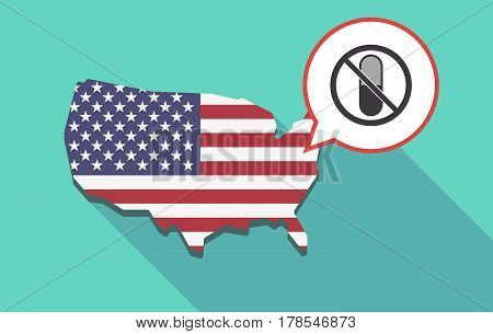 Long Shadow Usa Map With  A Pill  In A Not Allowed Signal