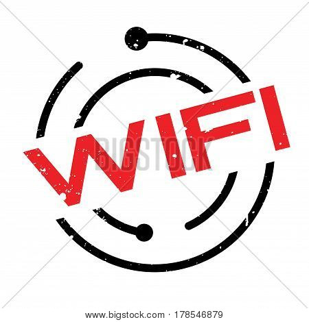 Wifi rubber stamp. Grunge design with dust scratches. Effects can be easily removed for a clean, crisp look. Color is easily changed.