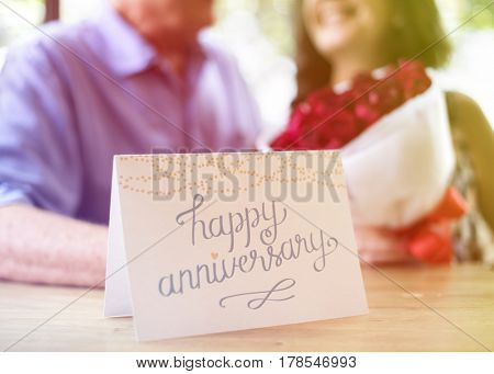 Photo Gradient Style with Close up happy anniversary greeting card