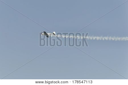 View of airplane performs at an airshow