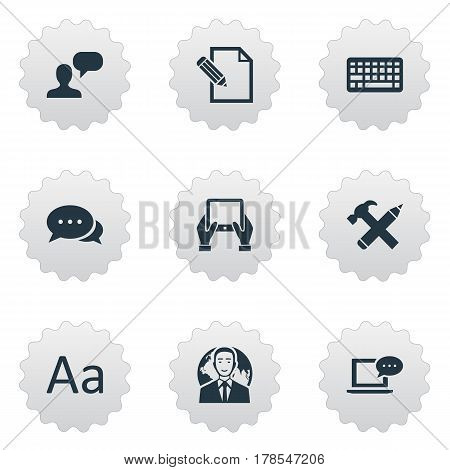 Vector Illustration Set Of Simple Blogging Icons. Elements Argument, Laptop, Document And Other Synonyms Keypad, Tablet And Message.